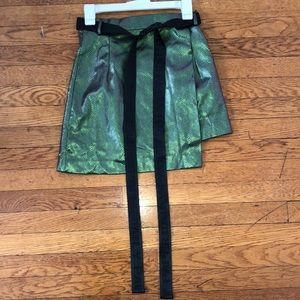 Daily Paper Green Metallic SnakeSkin Wrap Skirt